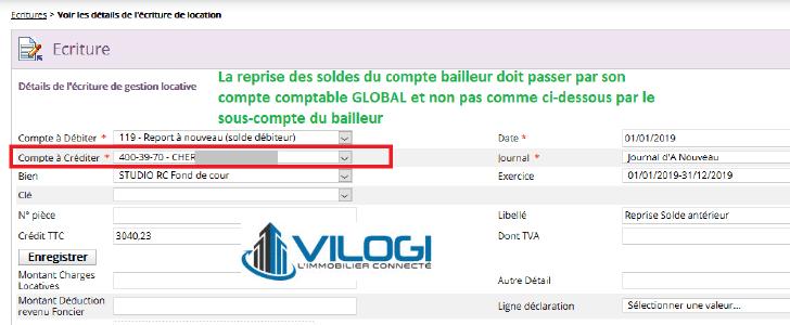 Prendre le compte global du bailleur sur le logiciel gestion locative full web