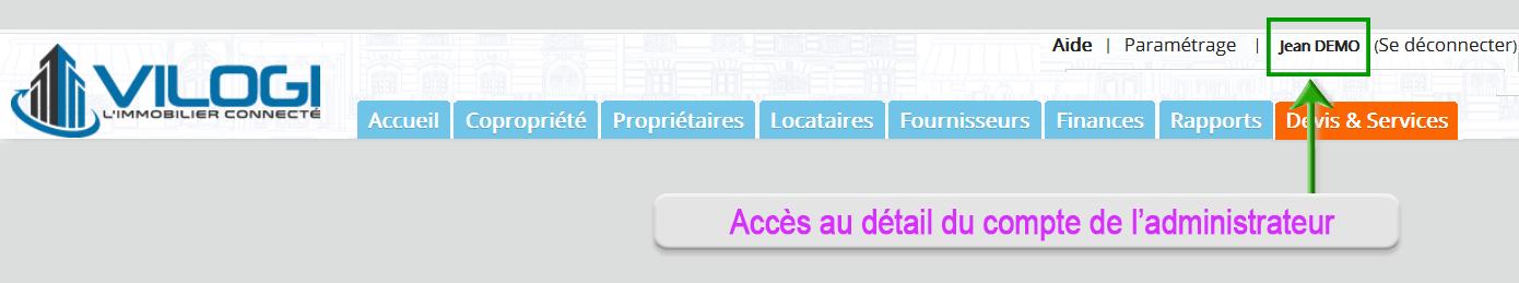 Accès aux informations et aux codes d accès de l administrateur du compte