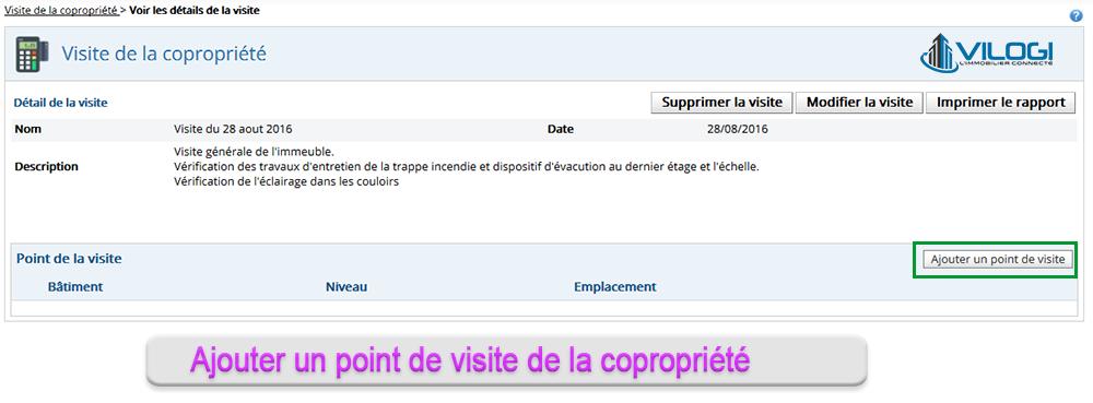 Ajouter un point au carnet de visite logiciel syndic de copropriété