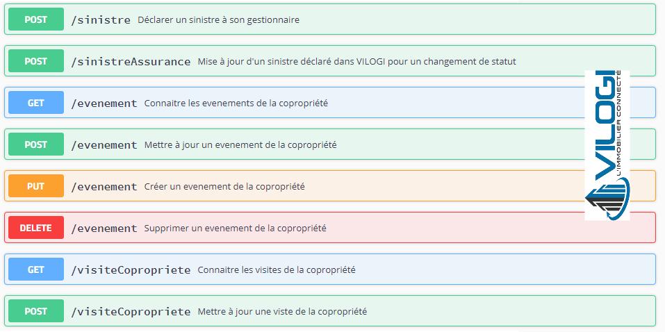 Extrait de la documentation d'une API proposée par VILOGI