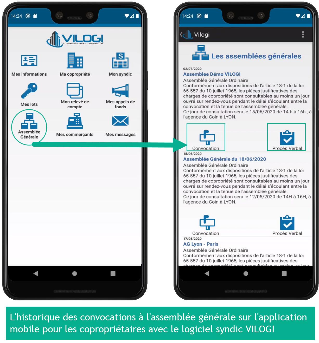 L historique des convocation AG sur application mobile des copropriétaires
