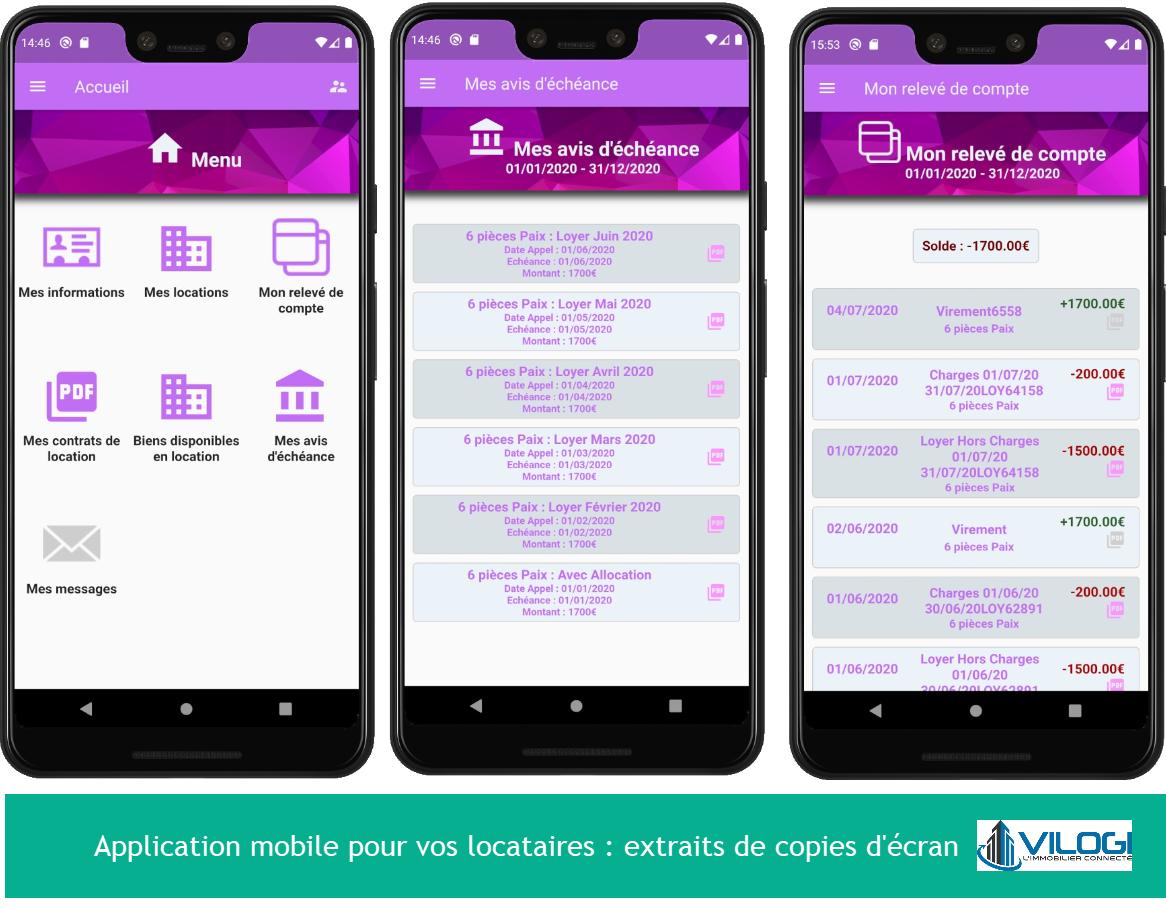 Application mobile pour vos locataires