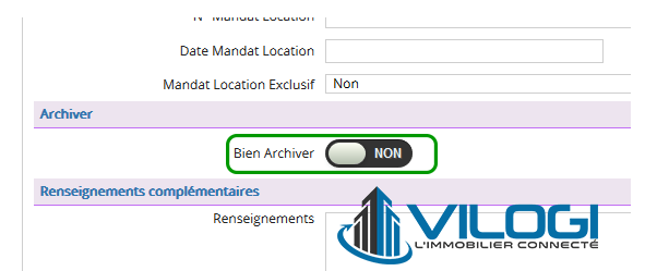 Accès à l archivage du bien avec le logiciel de gestion locative