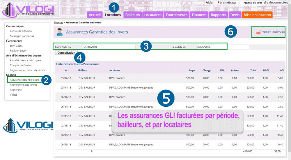 Liste des assurances GLI facturées aux bailleurs avec le logiciel gestion locative VILOGI
