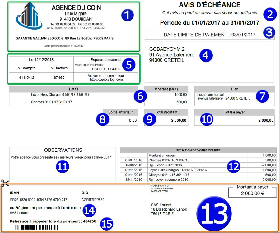 Avis d échéance détaillé pour le locataire avec le logiciel de gestion locative VILOGI