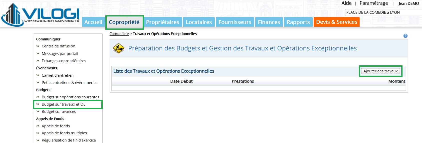 Cliquer sur le budget de travaux de la copropriété