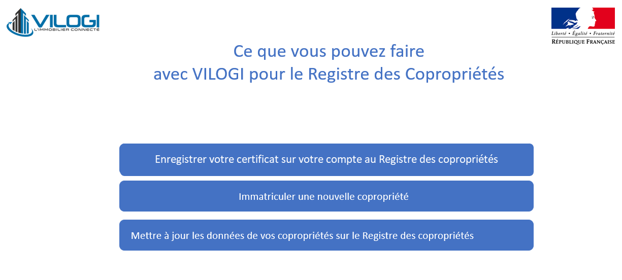 Ce que vous puvez faire avec le certificat VILOGI sur le Registre des Copropriétés
