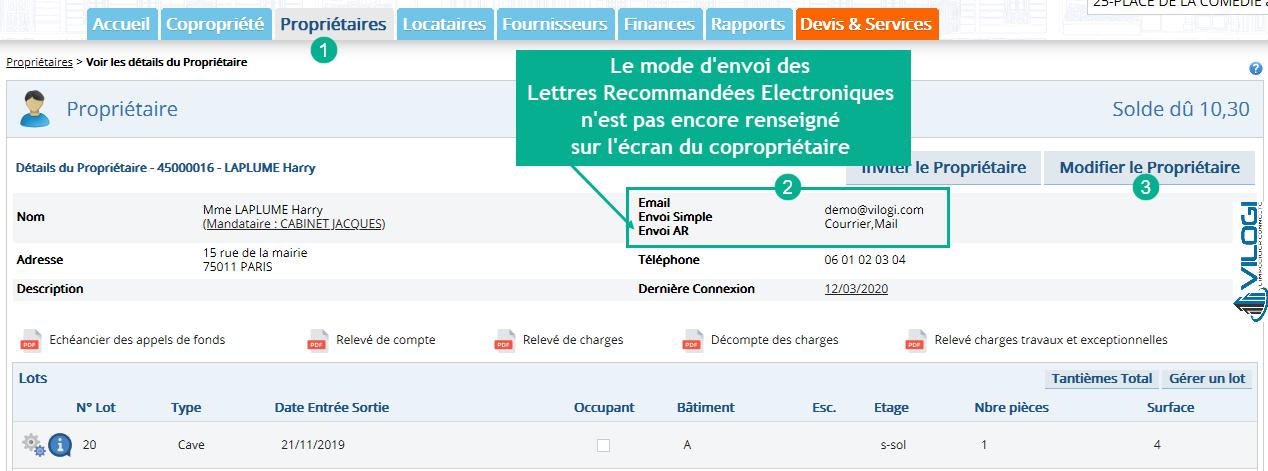 Paramétrer l envoi des lettres recommandées électroniques que le compte du copropriétaire