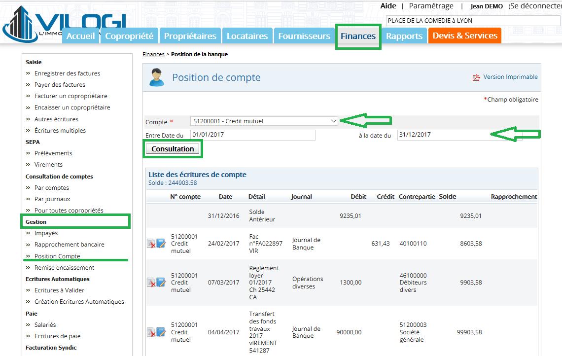 consulter une position de compte sur le logiciel de gestion de copropri u00e9t u00e9