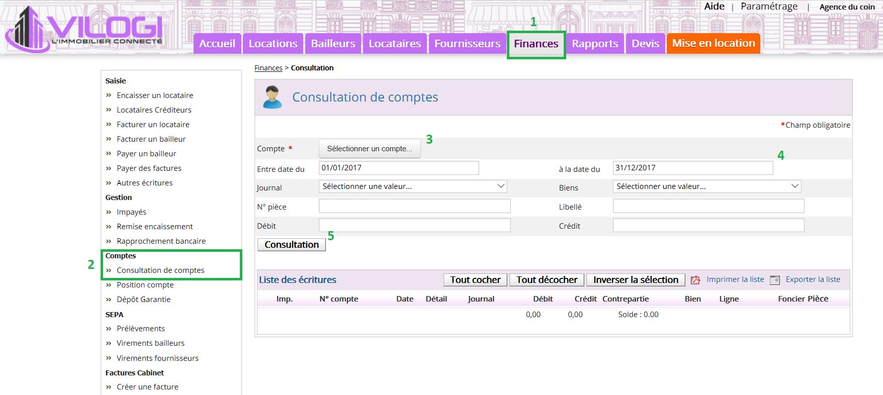 Consulter les comptes comptables sur le logiciel de gestion locative