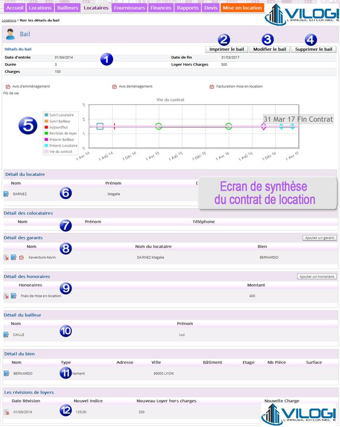 Détail du contrat de location avec le logiciel gestion locative VILOGI