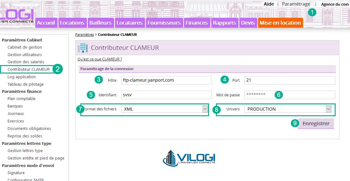 Paramétrage du compte CLAMEUR sur le logiciel gestion locative