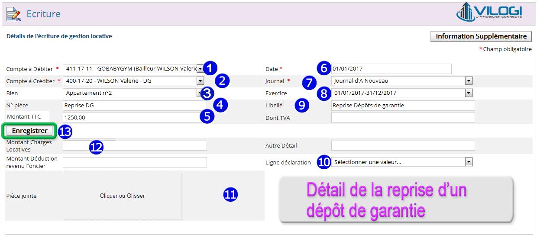 Détail écriture reprise dépôt de garantie sur le logiciel de gestion locative VILOGI