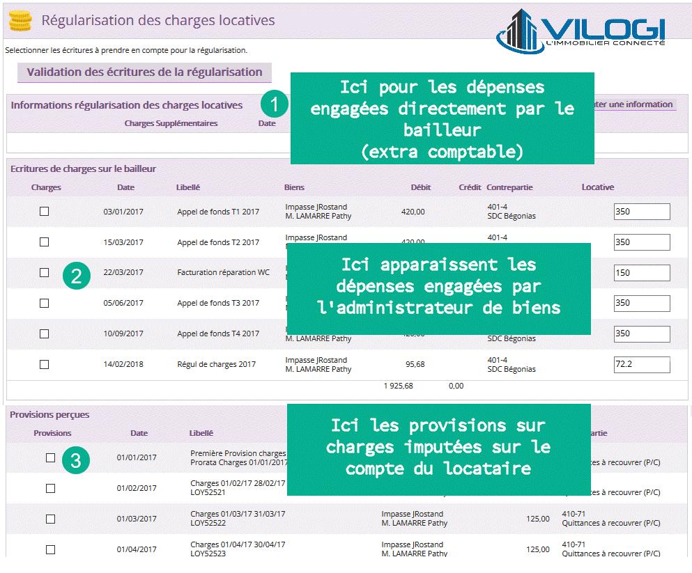 Ecran de présentation du calcul de la régularisation des charges du locataire