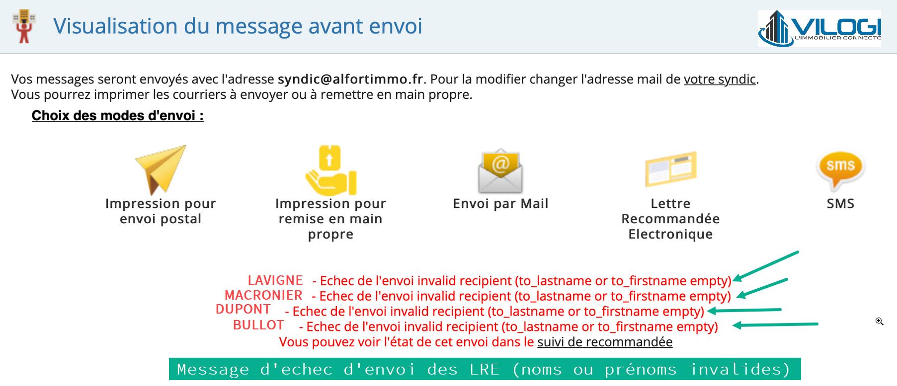 Echec envoi des lettre recommandées électroniques avec le logiciel syndic de copropriété