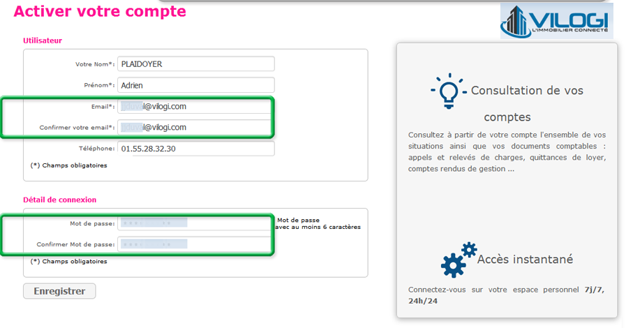 Ecran activation extranet du bailleur en gestion locative
