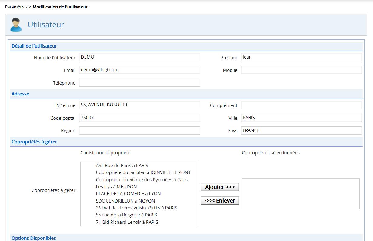 Ecran de paramétrage des utilisateurs du logiciel gestion syndic