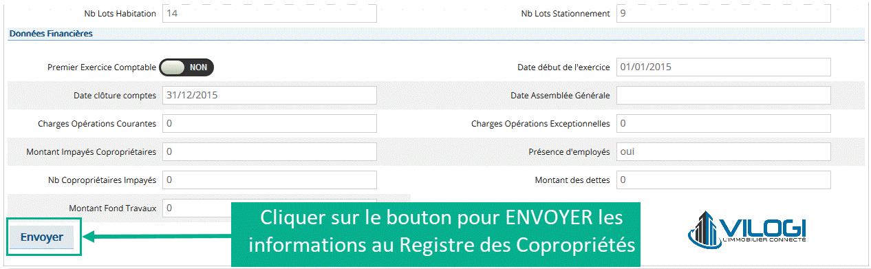 Envoyer les données de la copropriété pour immatriculer au registre