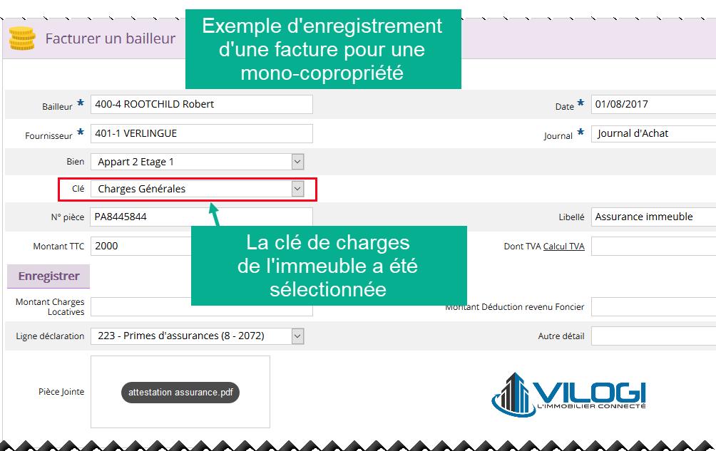 Enregistrement d une facture pour un immeuble logiciel gestion locative