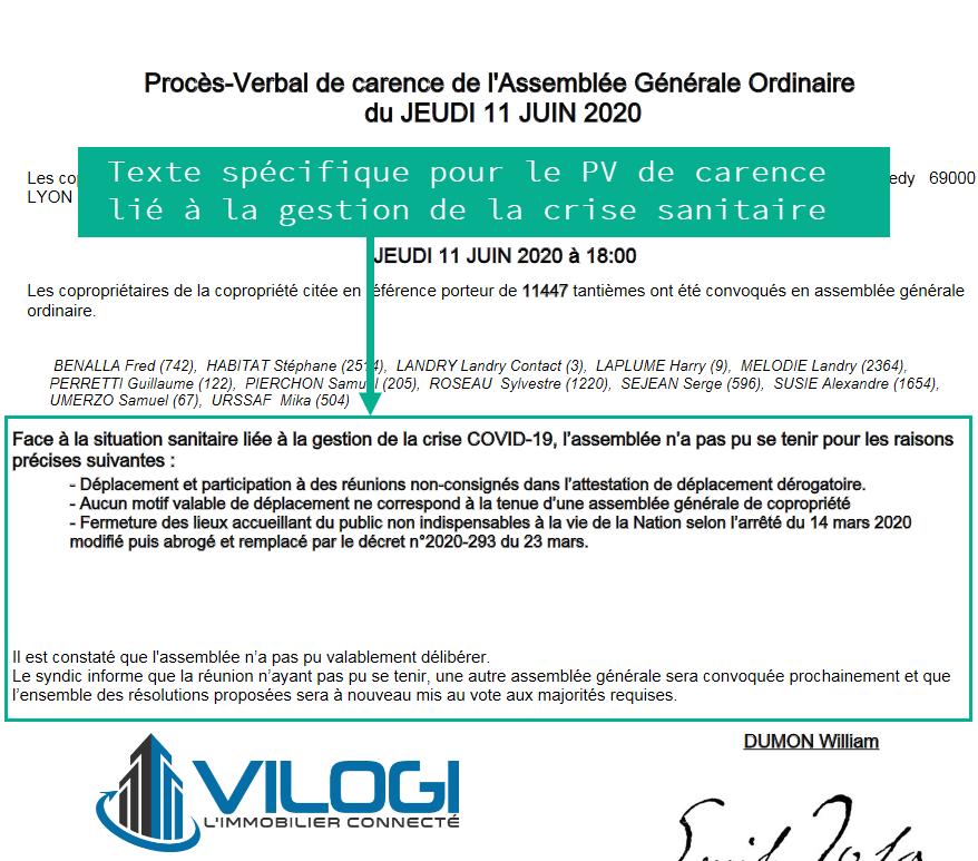 Extrait du PV de carence AG lié à la crise sanitaire covid-19 de 2020.