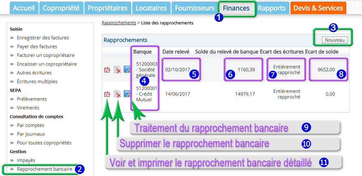 Faire le raprochement bancaire avec le logiciel syndic de copropriété