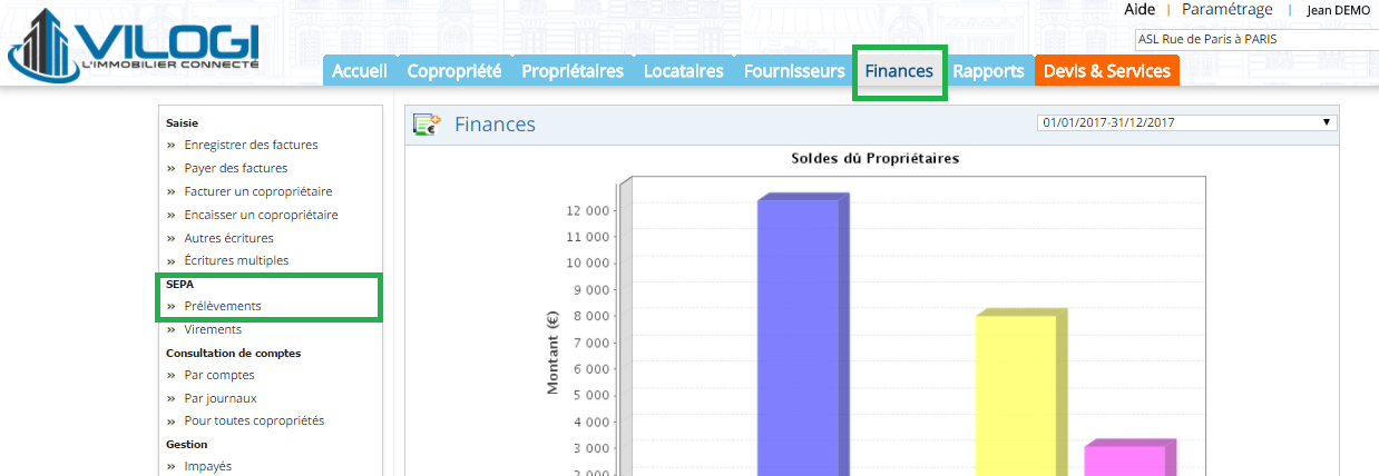 finances prelevements sepa syndic
