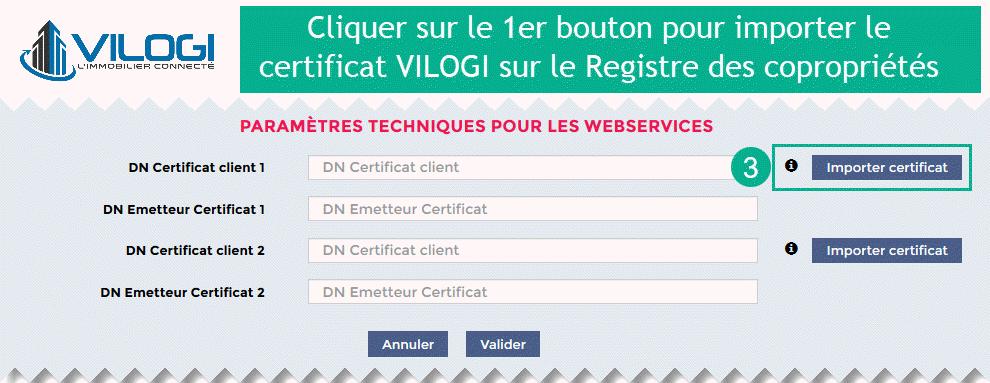 Importer le certificat sécurité VILOGI sur le Registre des Copropriétés