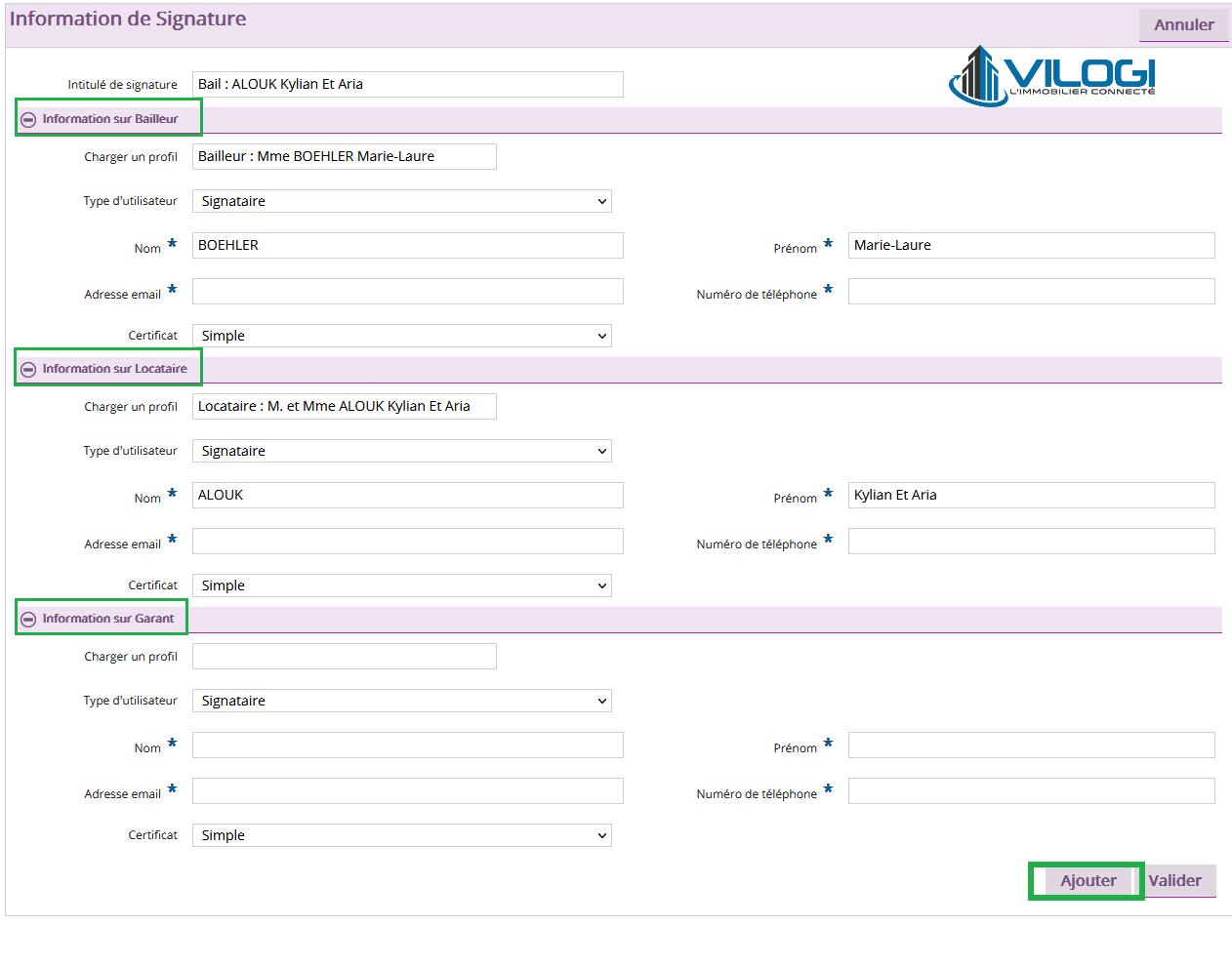 saisir les données de vos signataires sur votre logiciel de gestion locative full web