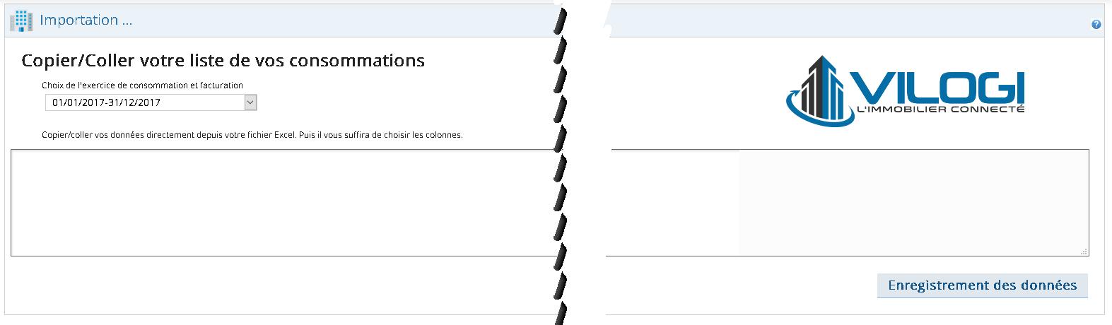 Interface pour intégrer les données des relevés de compteur sur le fichier excel