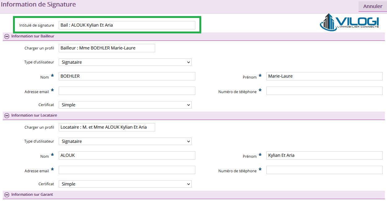 donner un titre à votre procédure de la signature électronique sur le logiciel de gestion locative vilogi