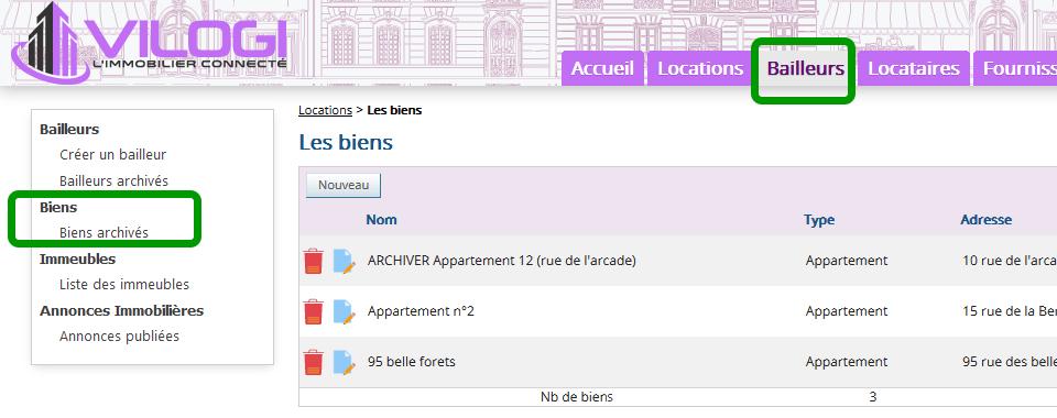 liste des biens archivés par l administrateur de biens