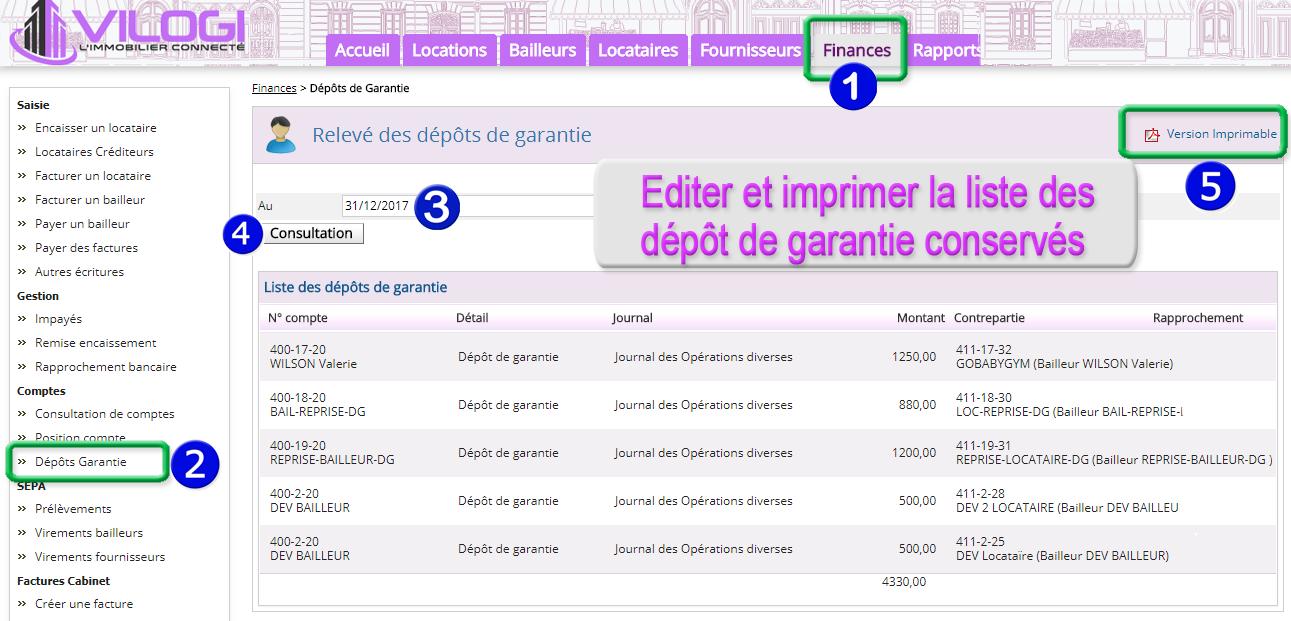 Listing des dépôts de garantie conservés par le cabinet de gestion à une date