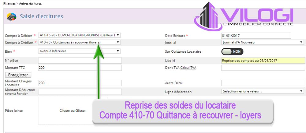 La reprise des soldes du locataire avec le logiciel de gérance locative VILOGI