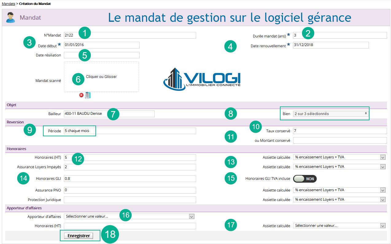 Détail du mandat de gestion sur le logiciel gestion locative en full web