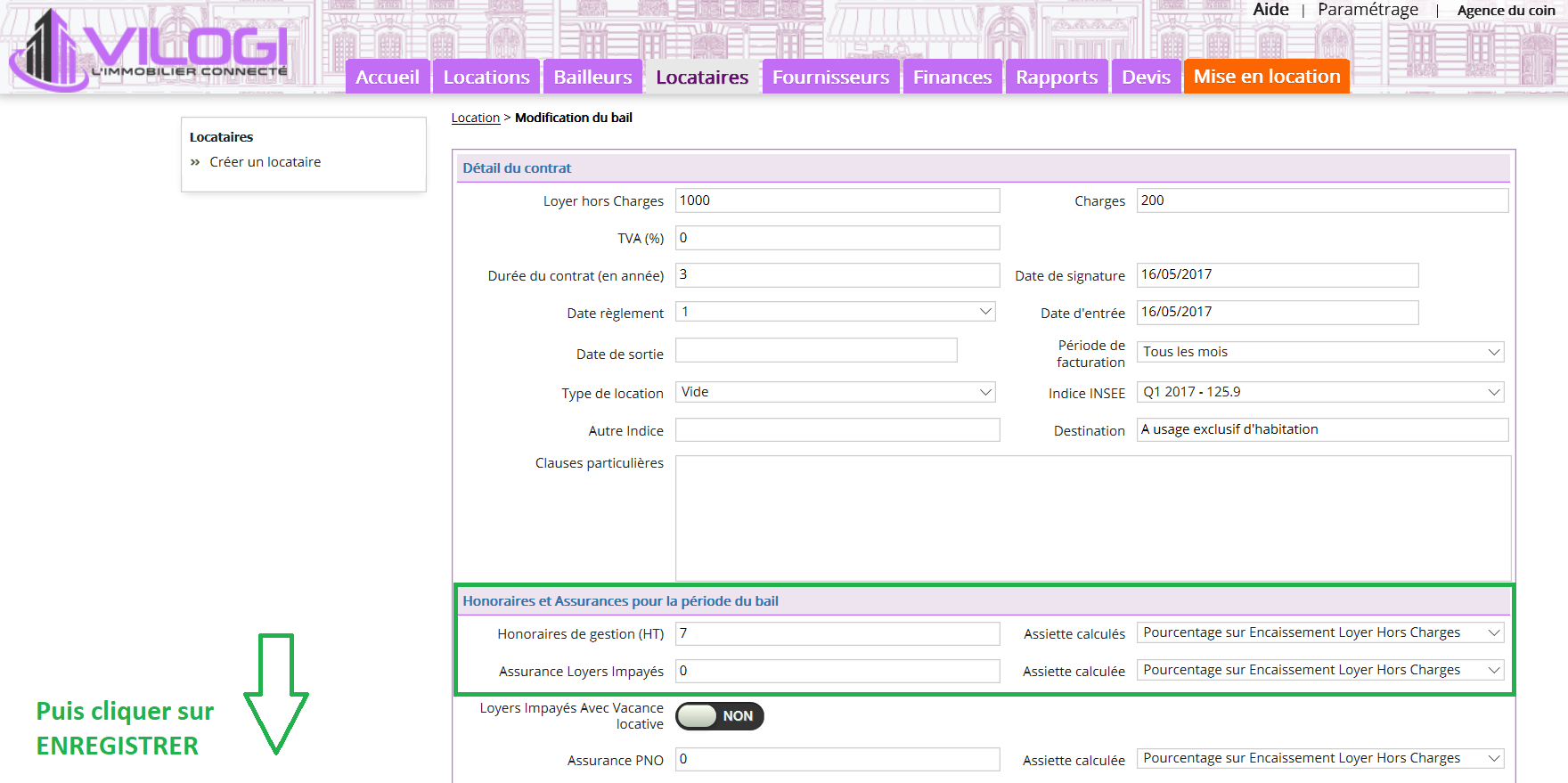 Modification des honoraires de gestion locative