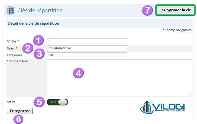 Modifier une clé de répartition de charges de la copropriété avec le logiciel syndic