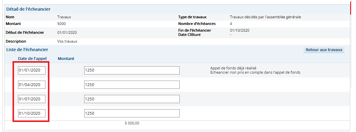 Modifier les dates des appels de fonds travaux