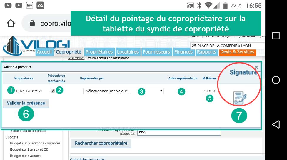 Pointage et signature du copropriétaire à l ag avec le logiciel syndic