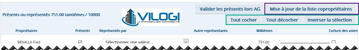 Pointage propriétaires présent AG avec le logiciel syndic en full web