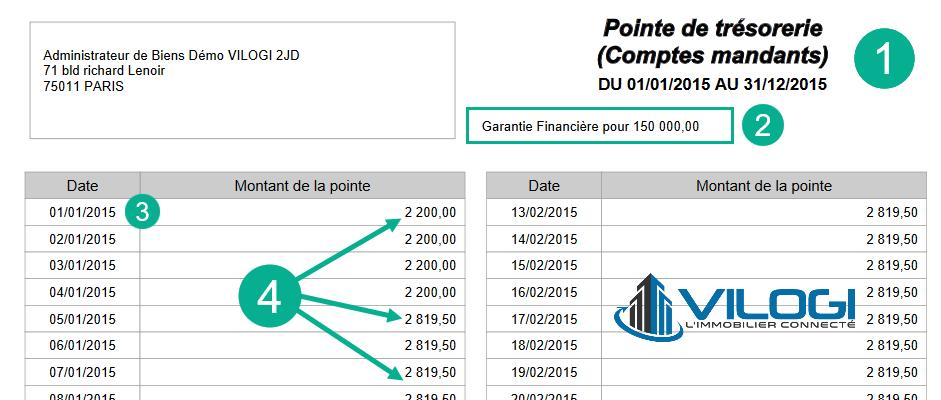 Le document de la pointe de trésorerie au format PDF
