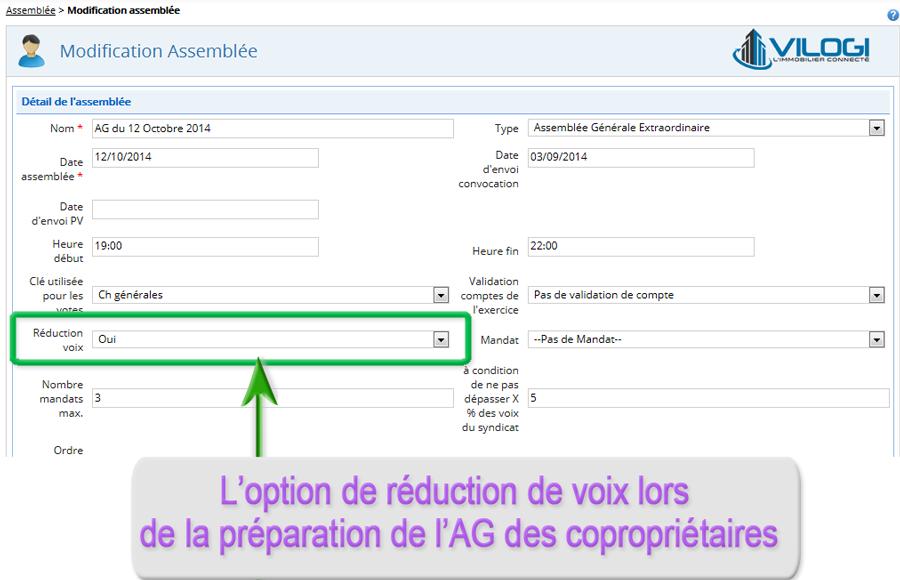 réduction des voix à l AG article 22 avec le logiciel syndic de copropriété
