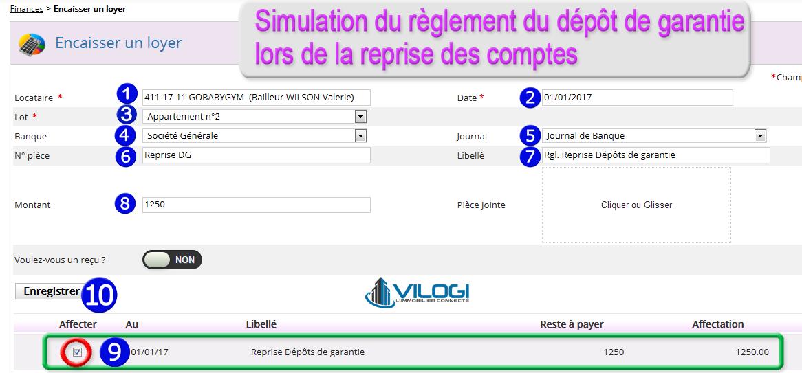 Enregistrer le paiement du dépôt de garantie avec le logiciel de gestion locative VILOGI