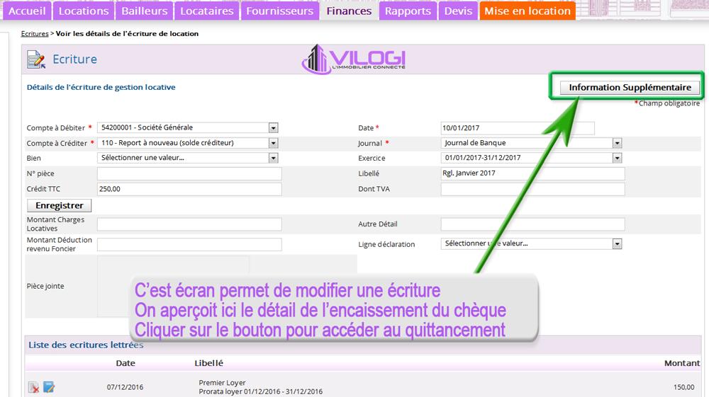 rejet du chèque du locataire avec le logiciel de gestion locative VILOGI