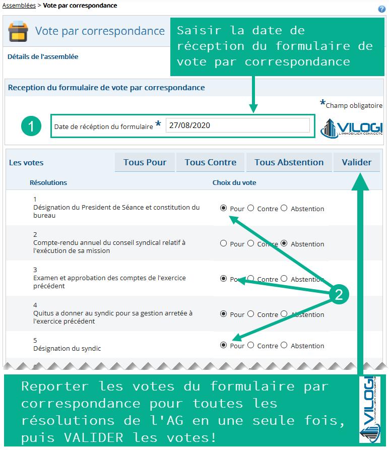 Saisir les votes des copropriétaires exprimés sur le formulaire de vote par correspondance