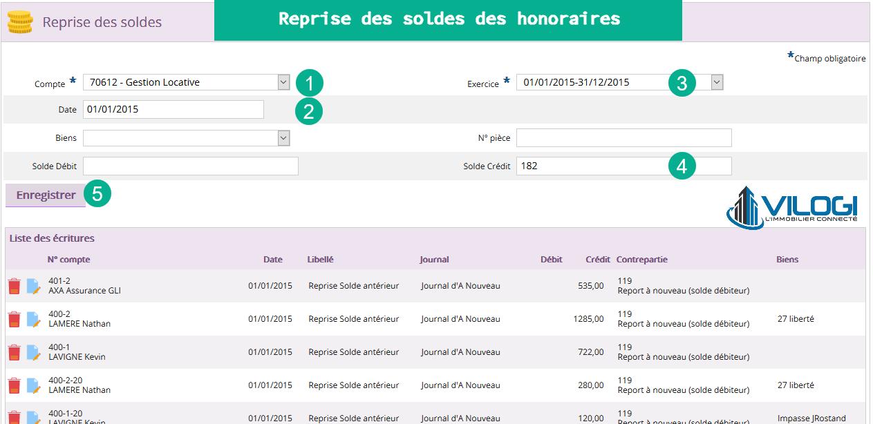 Reprise des soldes honoraires de gestion sur le logiciel gestion locative