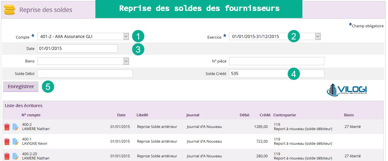 Reprise des soldes des fournisseurs sur le logiciel de gestion locative en full web