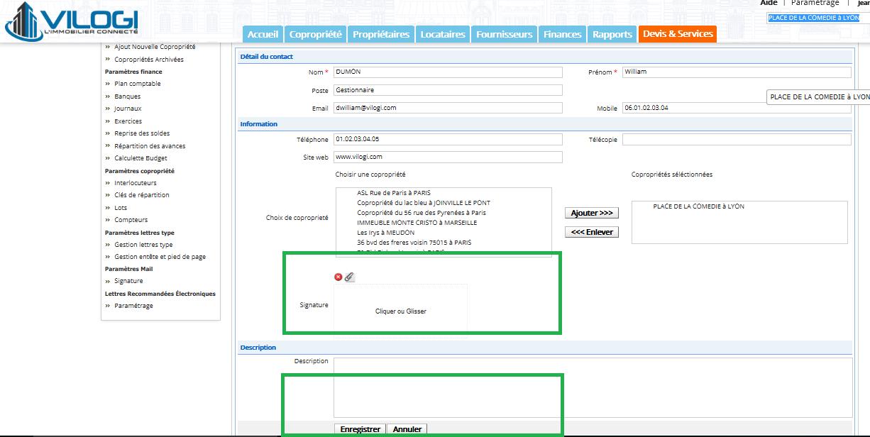 Configurer la signature du syndic de copropriété de l interlocuteur gestionnaire
