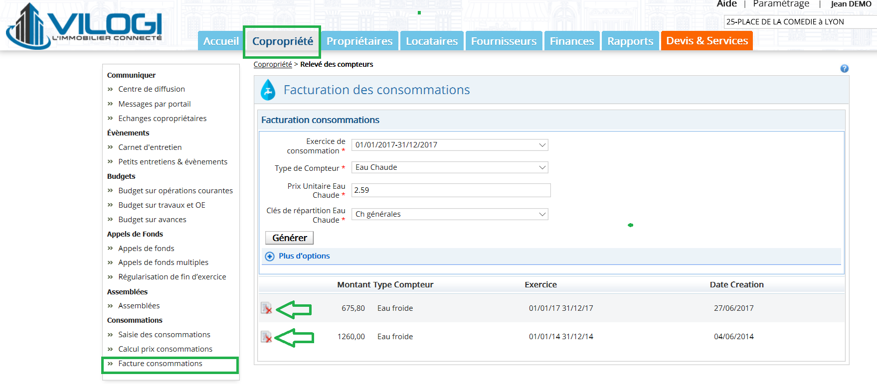 Suppression facturation eau