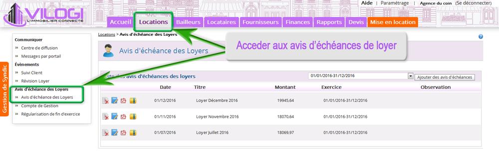 Acceder aux quittances de loyers avec le logiciel gestion locative